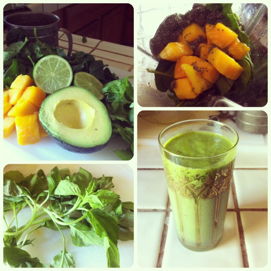 Sweet Basil, Mint, Mango, Lime Green Smoothie